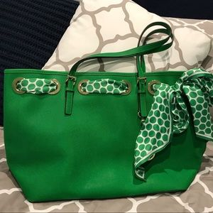 Michael Kors Kelly green tote w/ polka dot ribbon